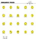 水果和蔬菜线象集合 免版税库存图片