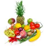 水果和蔬菜隔绝了白色背景 库存照片