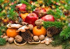 果子、曲奇饼和香料 与光的圣诞节背景 免版税图库摄影