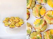 果子与猕猴桃、葡萄、桔子和苹果的饼馅饼 图库摄影