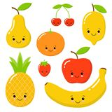 果子传染媒介汇集的逗人喜爱的明亮的颜色 设置果子是苹果,柠檬,香蕉,桔子,菠萝,普通话 向量例证