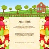 果子农场的传染媒介例证 水多的苹果梨果子边界 免版税库存图片