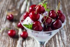 果子冰淇凌点心用在马蒂尼鸡尾酒玻璃的甜樱桃 免版税库存图片