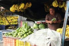 果子卖主在市场上 免版税库存图片