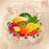果子和莓果圆的设计 免版税库存照片