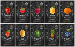 果子和莓果标号组 库存图片