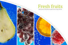 果子和莓果(照片拼贴画)到玻璃里与苏打 库存照片