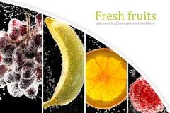 果子和莓果(照片拼贴画)到玻璃里与苏打wate 免版税库存图片