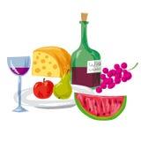 果子和酒 免版税库存照片