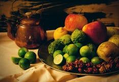 果子和铜水壶静物画  免版税库存图片