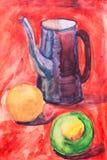果子和水罐绘与刷子 免版税库存图片