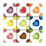 果子心脏无缝的样式集合 库存图片