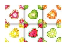 果子心脏无缝的样式集合 免版税库存照片