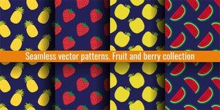 果子无缝的样式集合 菠萝、草莓、苹果和西瓜 衣裳或亚麻布的食物印刷品 时尚设计 库存例证