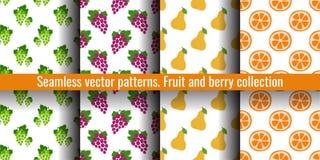 果子无缝的样式集合 葡萄、梨和橙色切片 衣裳或亚麻布的食物印刷品 时尚设计 秀丽传染媒介剪影 库存例证