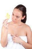 果子星形毛巾白人妇女年轻人 免版税库存照片