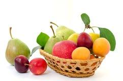 果子构成-柳条木篮子用整个成熟果子-梨、李子、杏子和苹果在白色背景 免版税库存图片