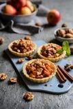 果子果子馅饼用焦糖的苹果片、桂香和核桃填装了 库存照片