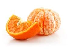 果子查出的成熟被切的蜜桔白色 免版税库存图片