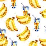 果子水彩图画无缝的背景  黄色香蕉汁 库存图片