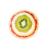 果子的眼睛,葡萄柚,猕猴桃,柠檬 免版税库存图片