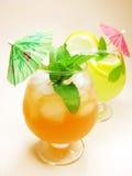 果子红色绿色打孔机鸡尾酒饮料用柠檬 免版税库存图片