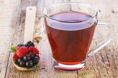 果子红色茶用在木匙子的野生莓果 免版税库存图片