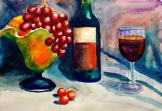 果子绘画水彩酒 免版税库存照片
