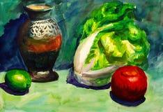 果子绘画蔬菜水彩 免版税库存照片