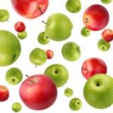 果子背景用在白色的绿色和红色苹果 库存照片