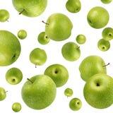 果子背景用在白色的绿色苹果 图库摄影