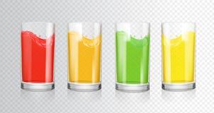 果子色的汁液 与果汁饮料,红色,桔子,绿色的透明玻璃,黄色 库存例证