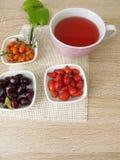 果子茶用欧亚山茱萸、玫瑰果和海鼠李 库存图片