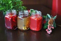 果子茶 茶用森林莓果 圣诞节 免版税库存图片