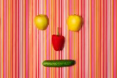 果子菜面孔 顶视图 幽默 免版税库存照片