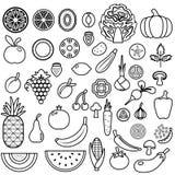 果子设置了蔬菜 食物象 免版税库存照片