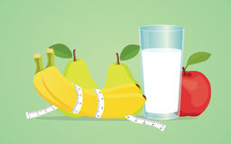 果子饮食用香蕉梨健康牛奶的苹果 免版税库存照片