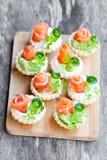 果子馅饼用乳脂干酪和熏制鲑鱼 库存照片