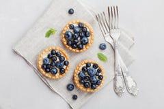 果子馅饼用在葡萄酒背景的蓝莓、越桔、乳清干酪和蜂蜜糖浆从上面 可口点心 平位置称呼 库存图片