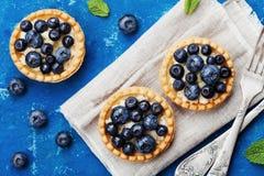 果子馅饼用在葡萄酒背景顶视图的蓝莓、越桔、乳清干酪和蜂蜜糖浆 可口点心 平位置称呼 库存照片