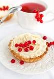 果子馅饼用被鞭打的奶油色和红浆果 库存图片
