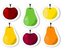 果子贴纸传染媒介-苹果和梨 免版税库存照片