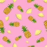 结果实菠萝无缝的样式传染媒介 免版税库存照片