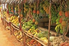 水果摊在小村庄, Samana半岛 库存图片