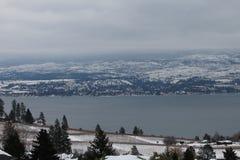 果树园和湖的看法 库存图片