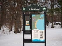果树园海滩在冬天 库存照片