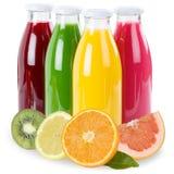 果汁在白色隔绝的瓶结果实 库存图片