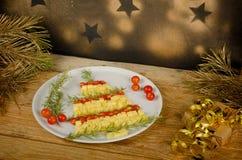 水果的圣诞树开胃菜 图库摄影