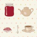 果酱和茶具 免版税图库摄影