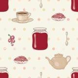 果酱和茶无缝的样式 免版税库存图片